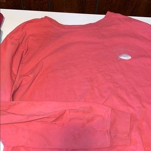 Long sleeve salmon colored Southern tide shirt.